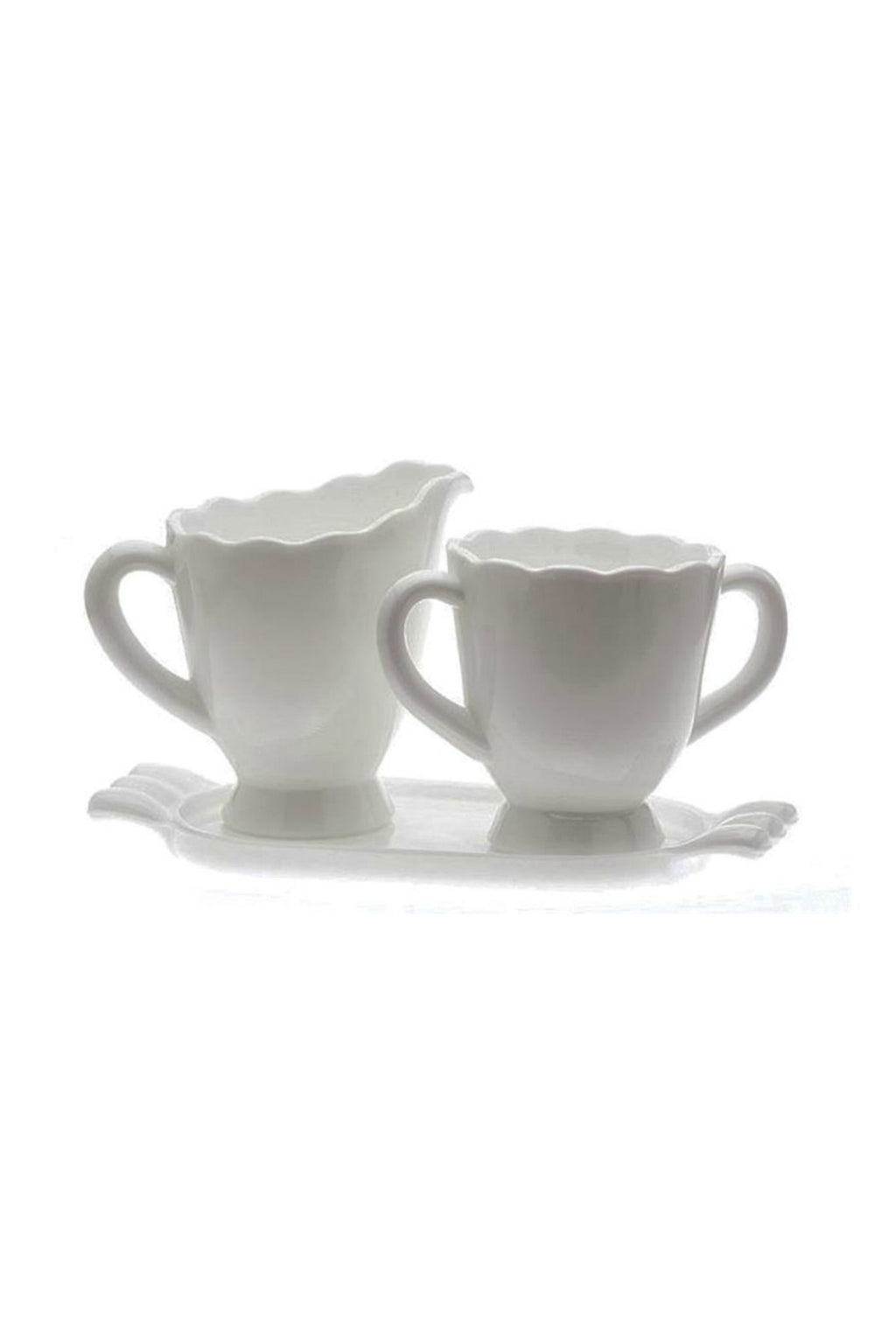 Mosser Glass Cream & Sugar - Milk Glass