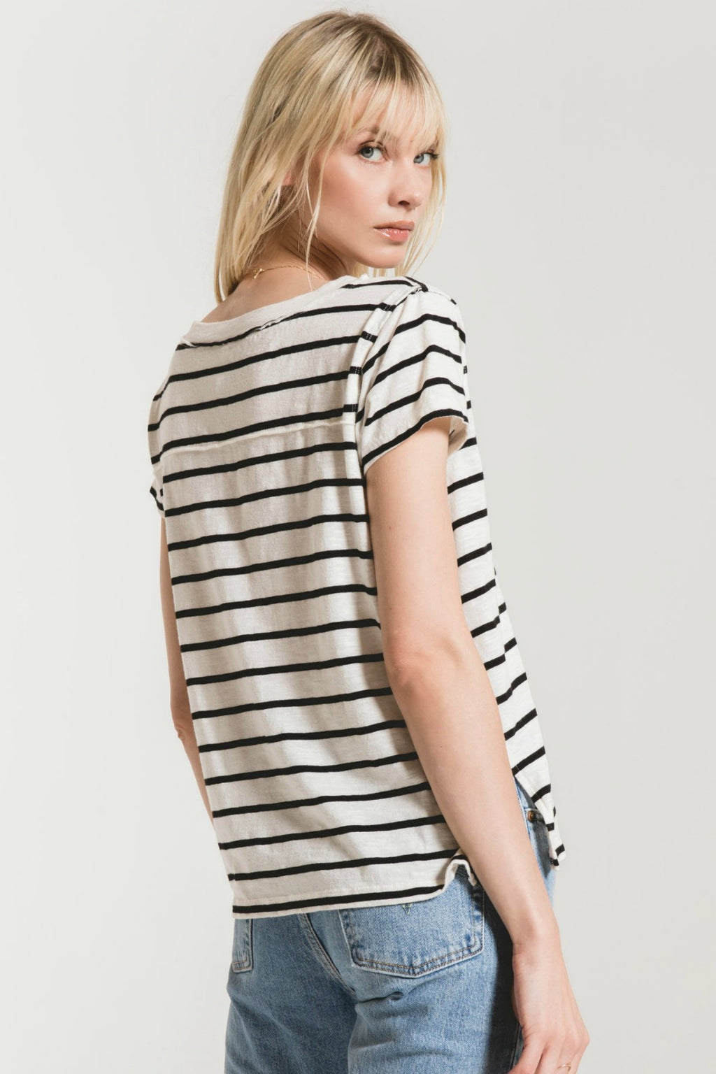 Z Supply The Desert Stripe Baby Tee - Desert White