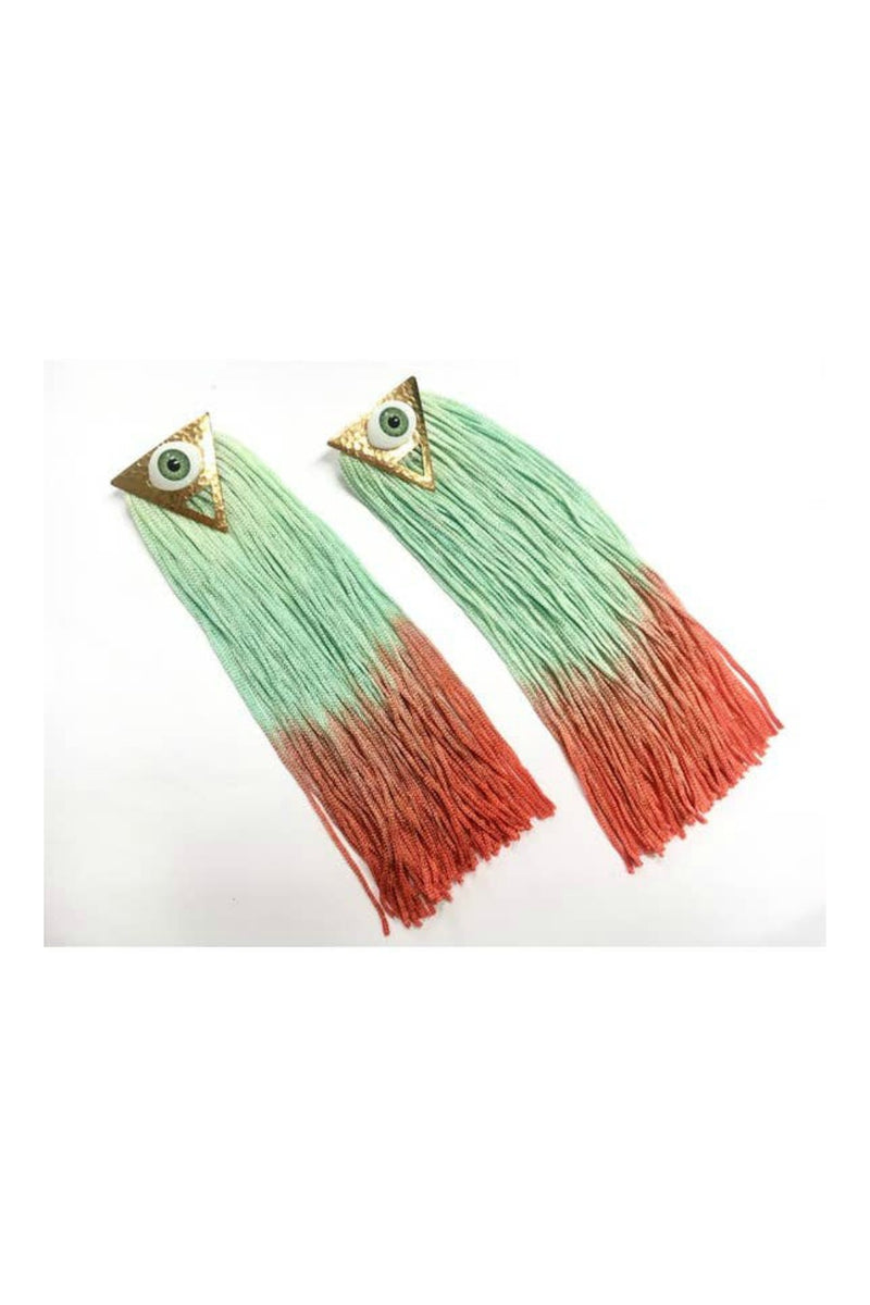 Odyssey & Oddities Eye See You Ombre Triangle Earrings - Mint + Red