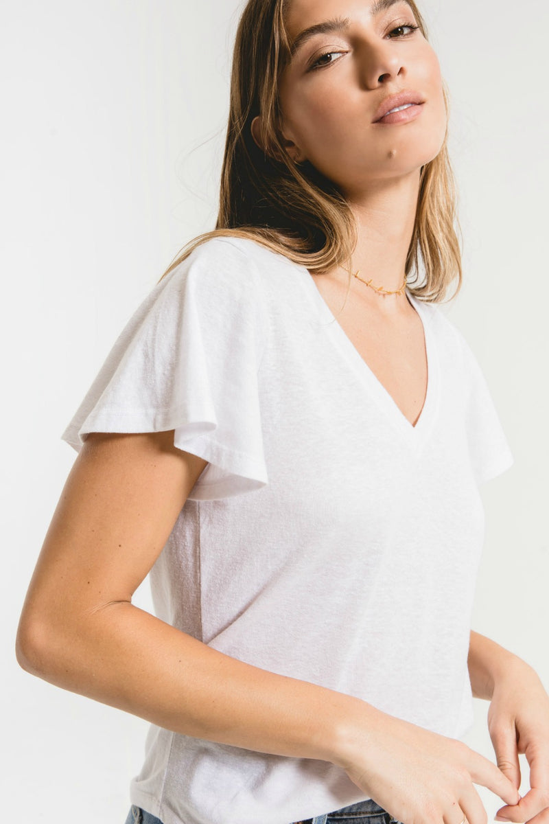 Z Supply Triblend Flutter V-Neck Tee in White