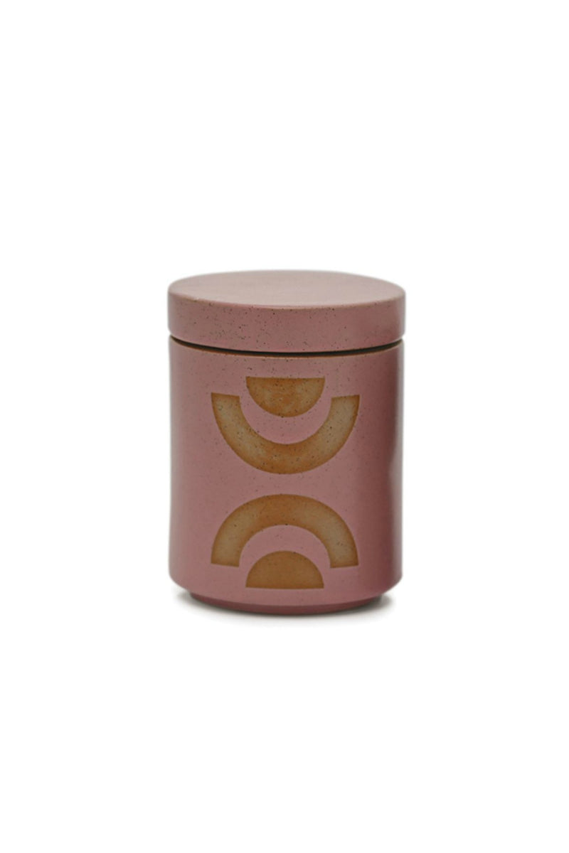 FORM 12 OZ MAUVE PINK GLAZED CERAMIC WITH LID - MANDARIN MANGO