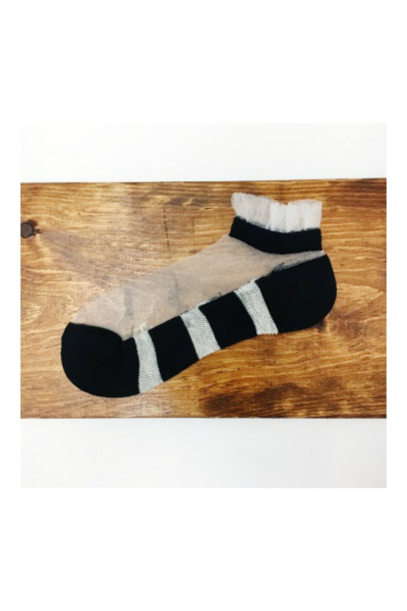 Pretty Persuasions Frilly Striped Socks - Black