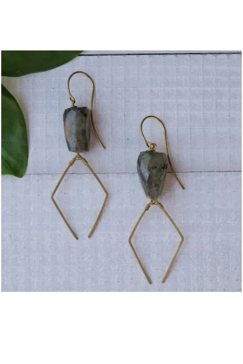 Brass Earrings w/ Stone