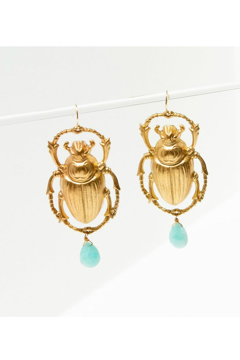 Larissa Loden Giant Scarab Earrings - Amazonite