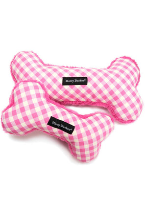 Harry Barker Gingham Bone Toy in Pink