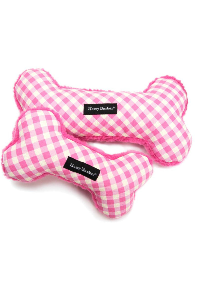 Harry Barker Gingham Bone Toy - Pink