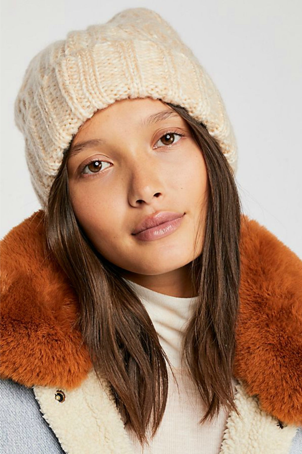Free People Harlow Cable Knit Beanie in Ivory