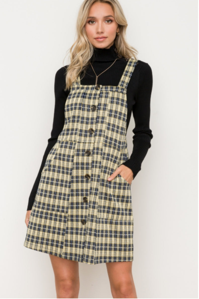 Hem & Thread Stella Overall Plaid Mini Dress
