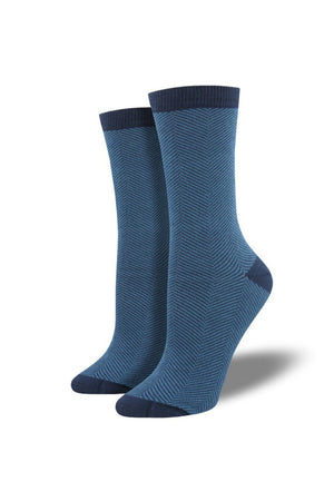 Socksmith Bamboo Socks Solid in Herringbone Blue