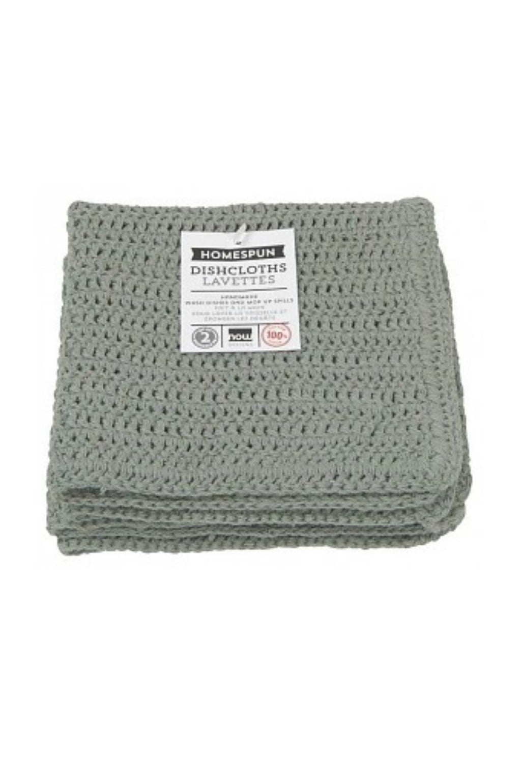 Now Designs Homespun Crochet Dishcloths in London Grey