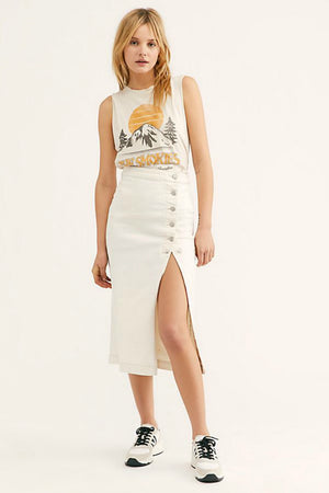 Free People Jasmine Buttoned Midi Skirt in White