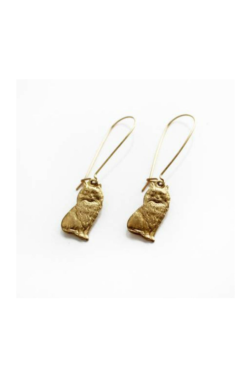 Larissa Loden Kitty Cat Earrings - Brass