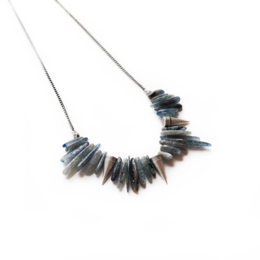 The Kyanite and Silver Spike Necklace 18""