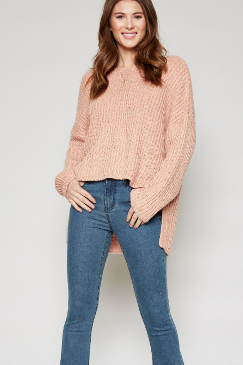 Sadie & Sage Lina High Low Sweater in Dusty Pink