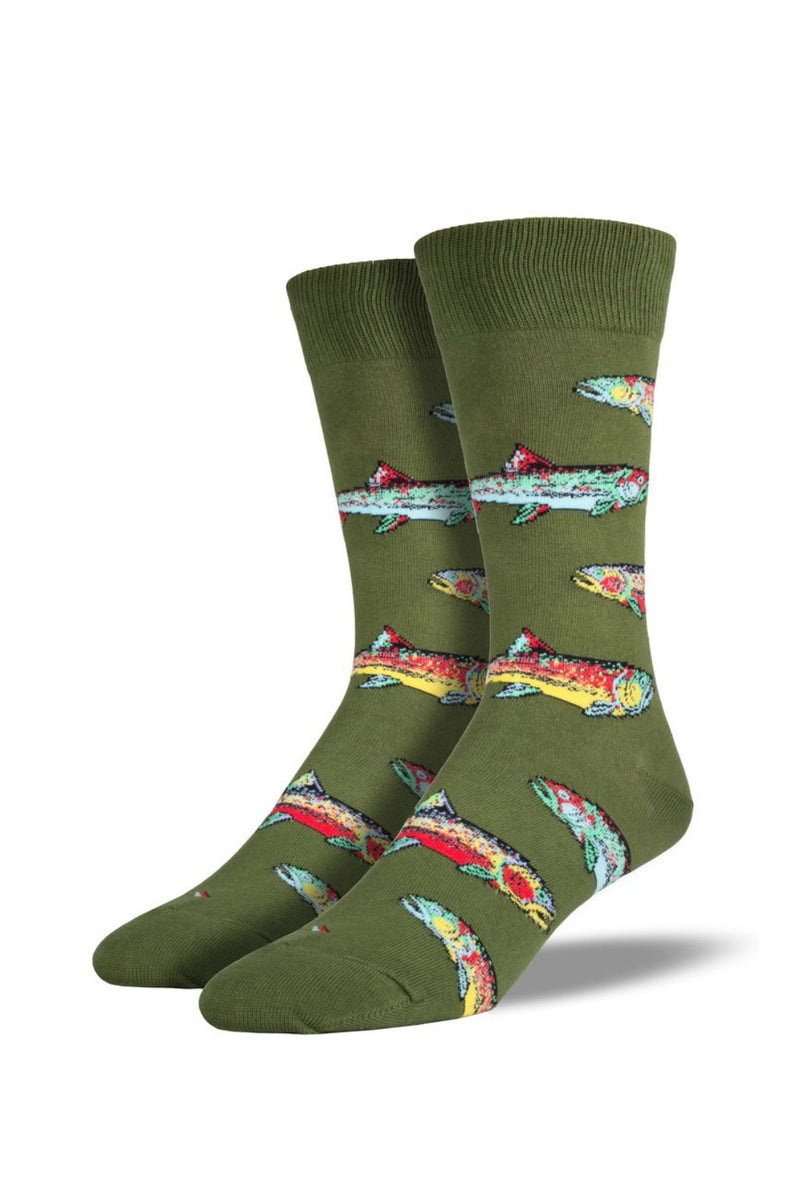 Socksmith Men's Novelty Bamboo Trout Socks in Green