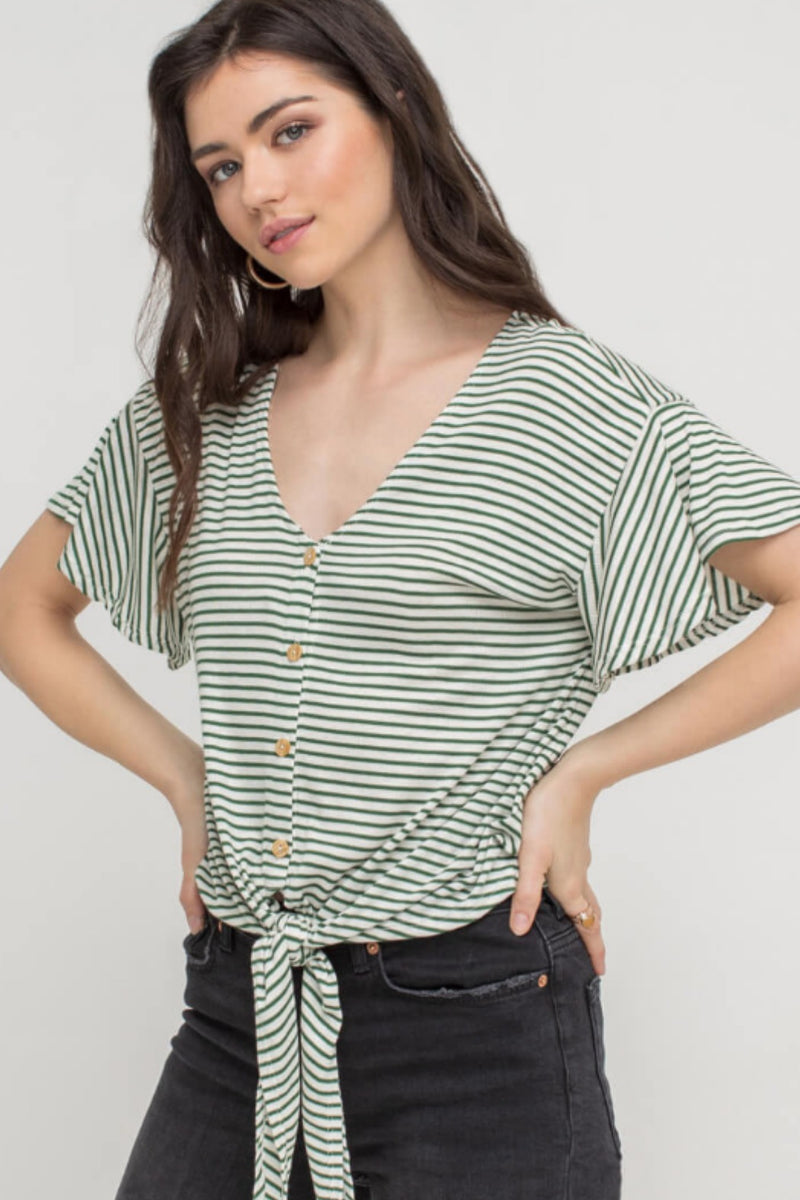 Midge Tie Knit Top in Ivory/Olive