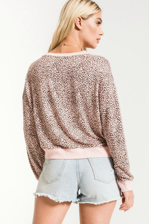 Z Supply Mini Leopard Pullover in Pale Blush