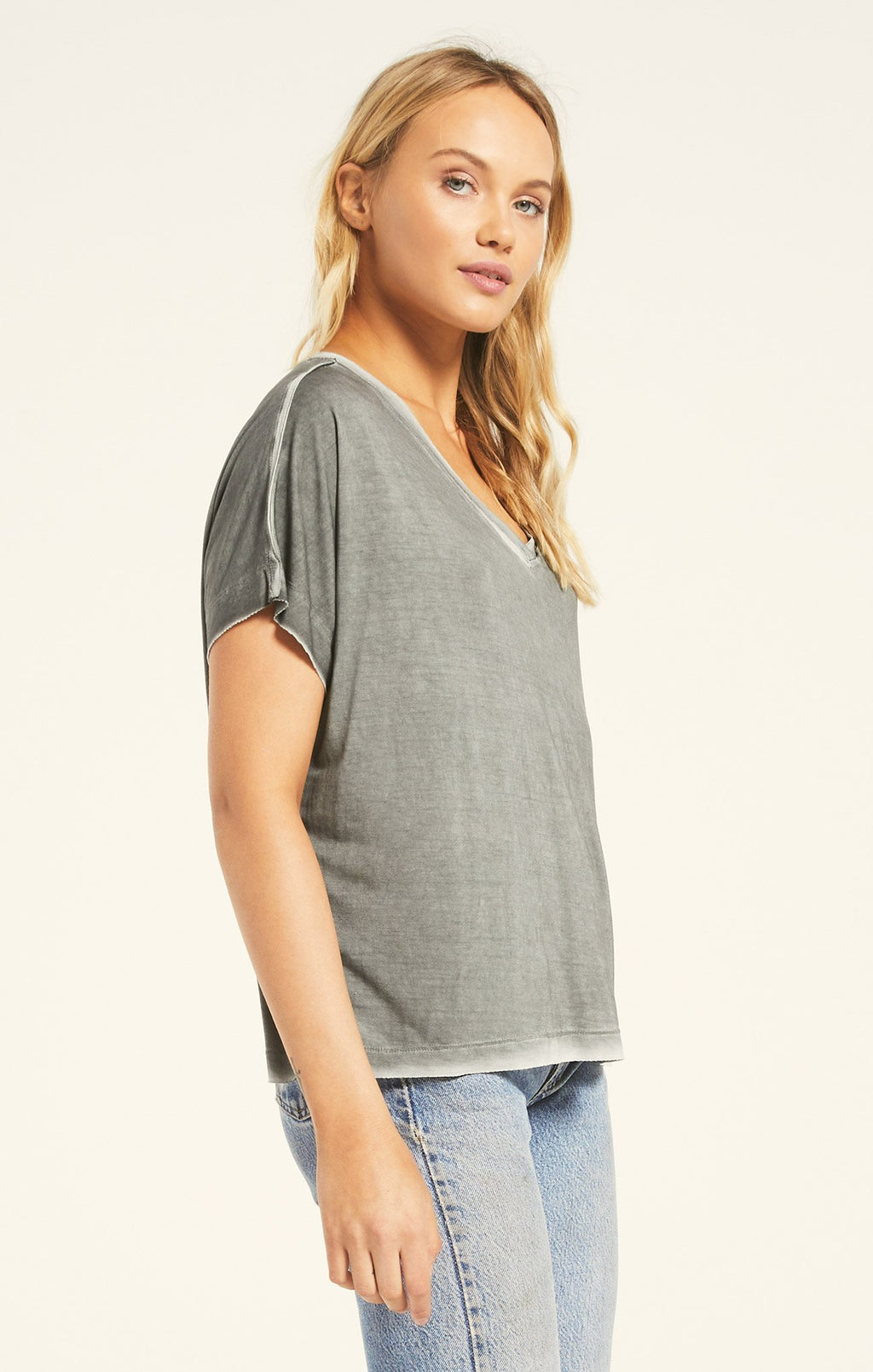 Z Supply Mischa Sleek V Neck - Ash Green