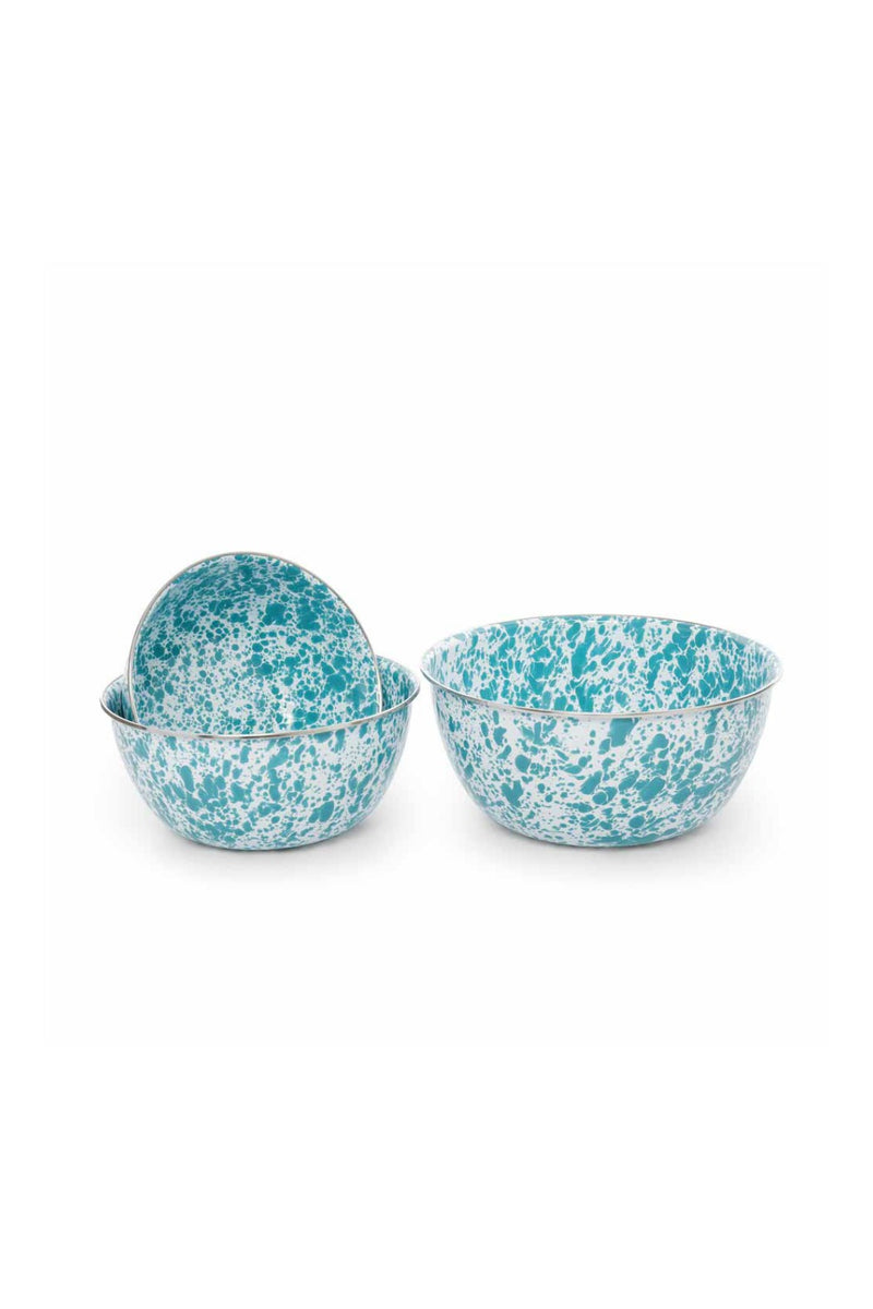 Crow Canyon Home Mixing Bowl - Turquoise Splatter - Set of 3