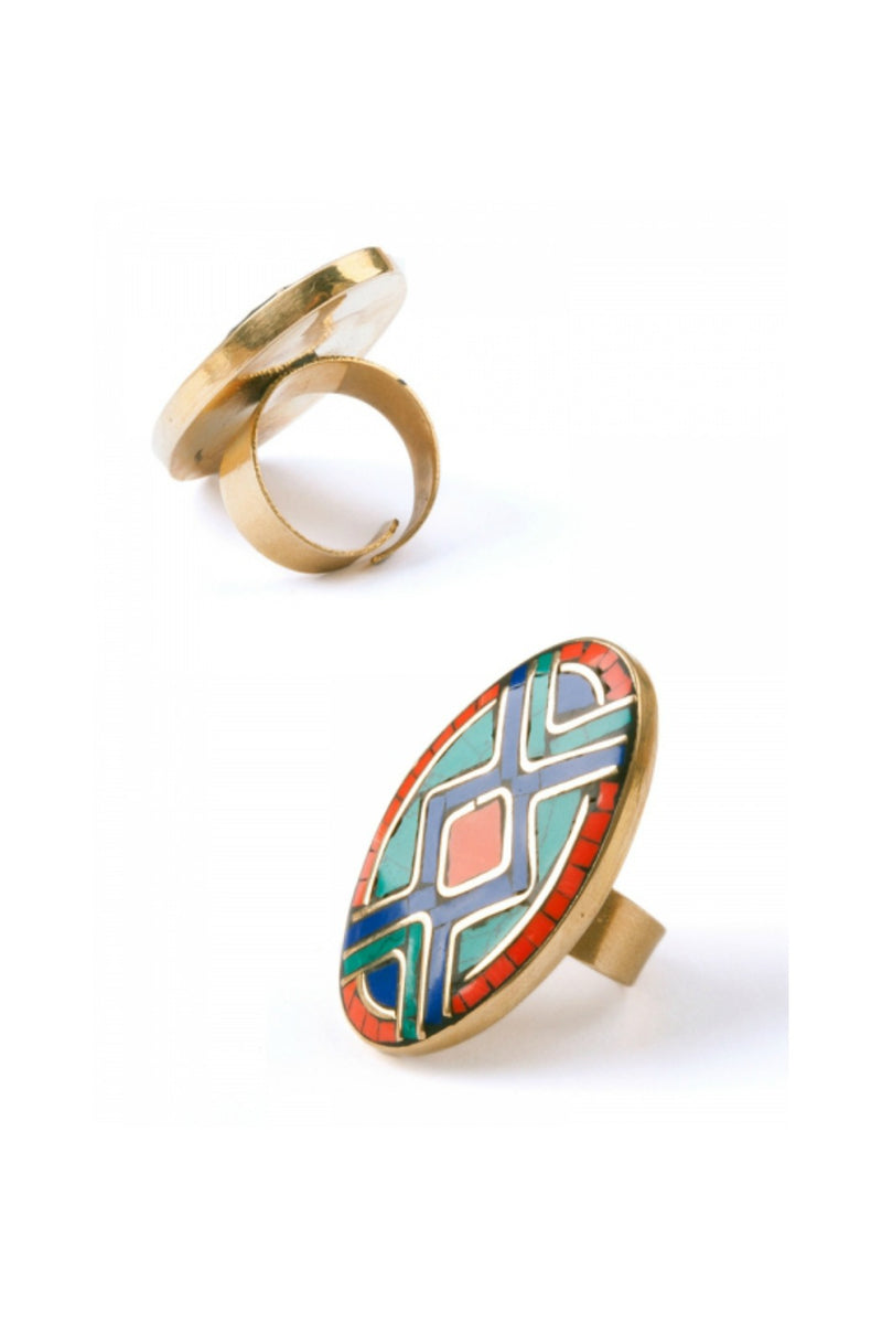 Mata Traders Mosaic Oval Ring