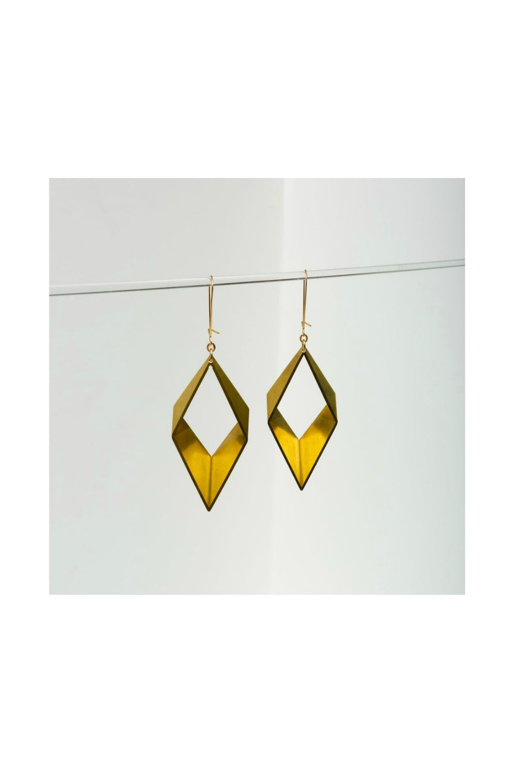 Larissa Loden Large Open Brass Diamond Earrings