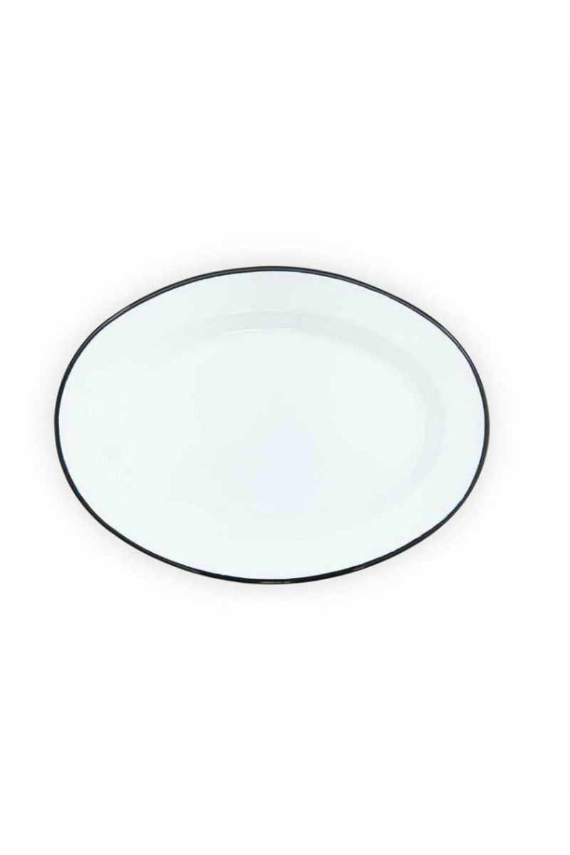 Crow Canyon Oval Plate - White w/Black