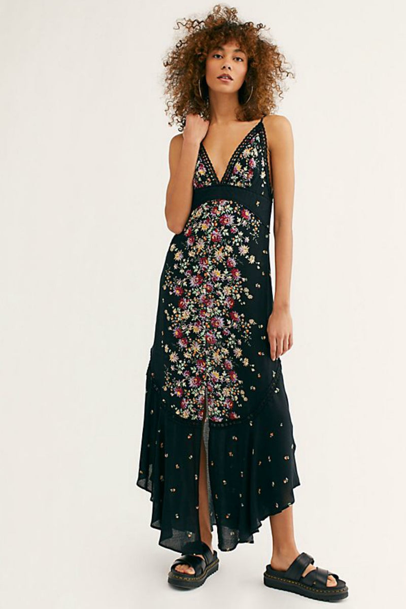 Free People Paradise Printed Maxi Dress in Black