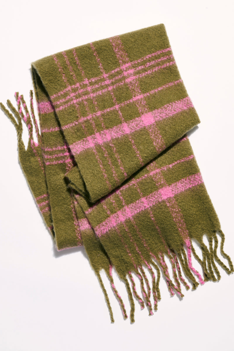 Free People Prep Brushed Plaid Blanket Scarf - Olive Combo