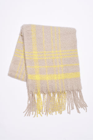 Free People Prep Brushed Plaid Blanket Scarf - Sand Combo