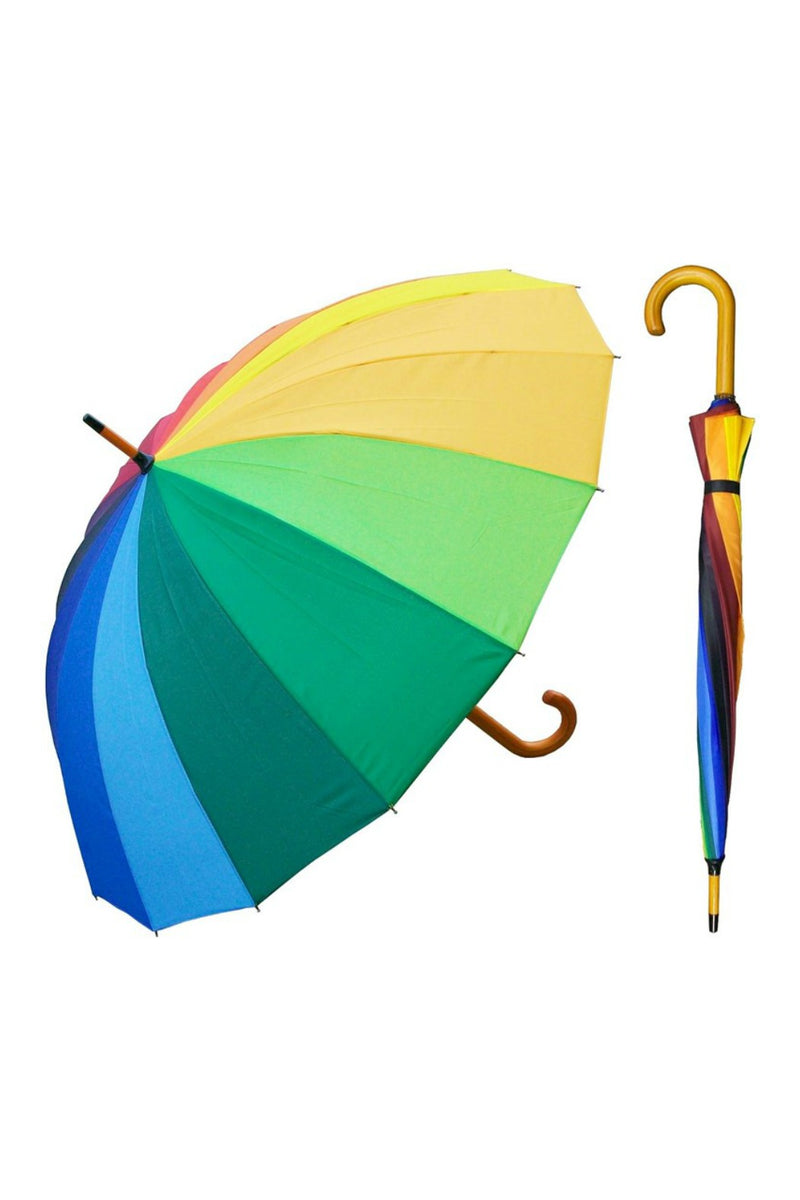 "RainStoppers 48"" 16-Panel Auto Umbrella in Rainbow"
