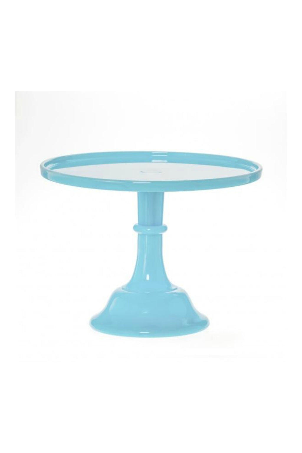 "Mosser Glass Cake 9"" Pedestal in Robins Egg"