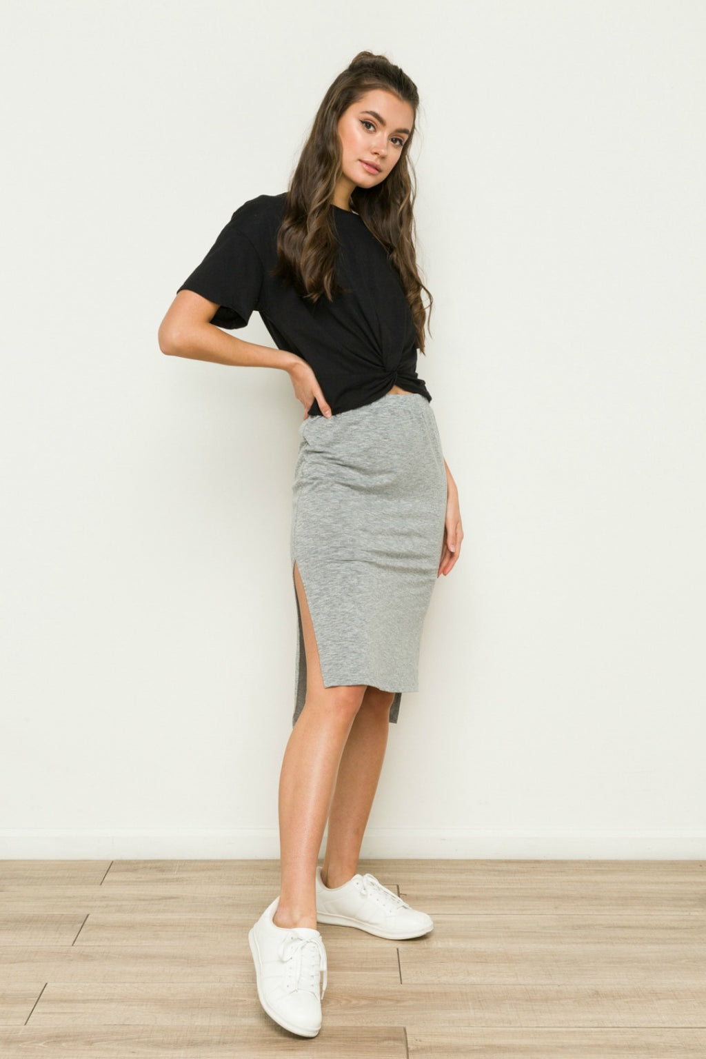 Sabrina Knit Hi Lo Skirt in Grey
