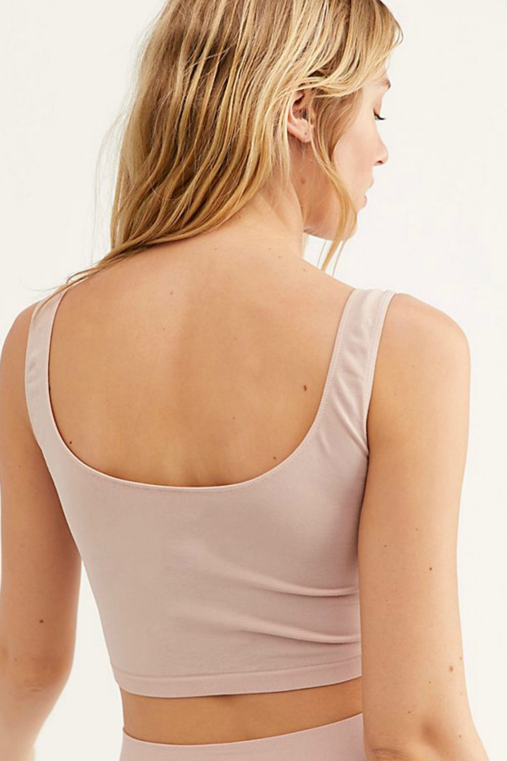 Free People Scoop Neck Crop in Rose