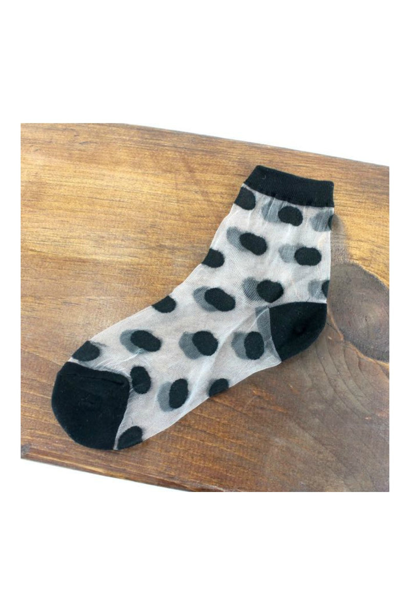 Pretty Persuasions Sheer Polka Dot Socks in Black