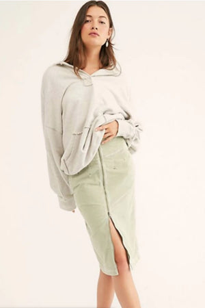 Free People I Want It All Cord Midi Skirt in Moss