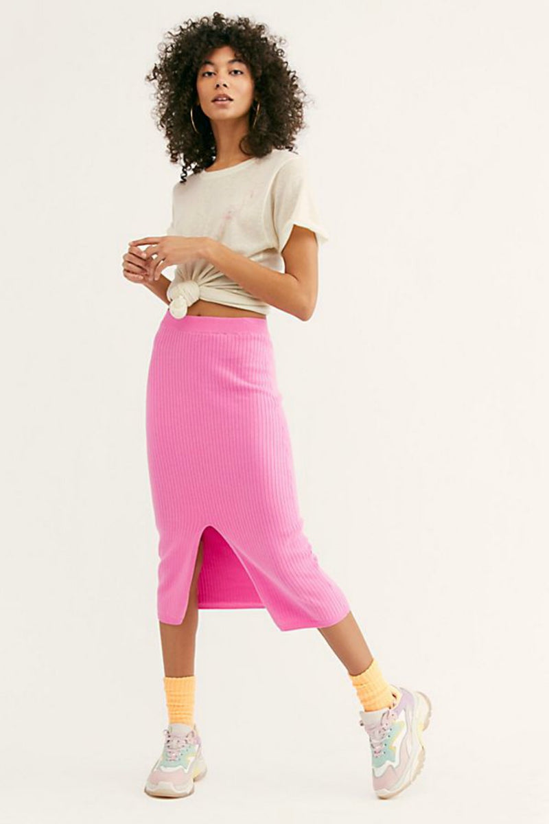 Free People Skyline Midi Skirt in Pink