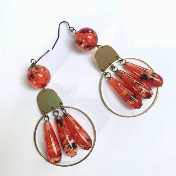 Odyssey & Oddities Vintage Speckled Orange Bead Earrings