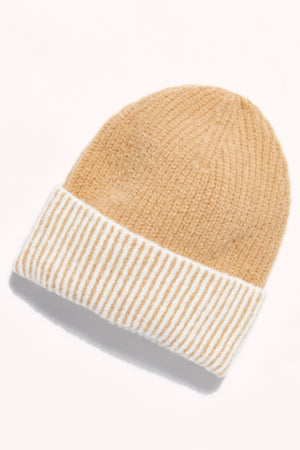 Free People Straight Chill Ribbed Beanie - Ivory/Camel