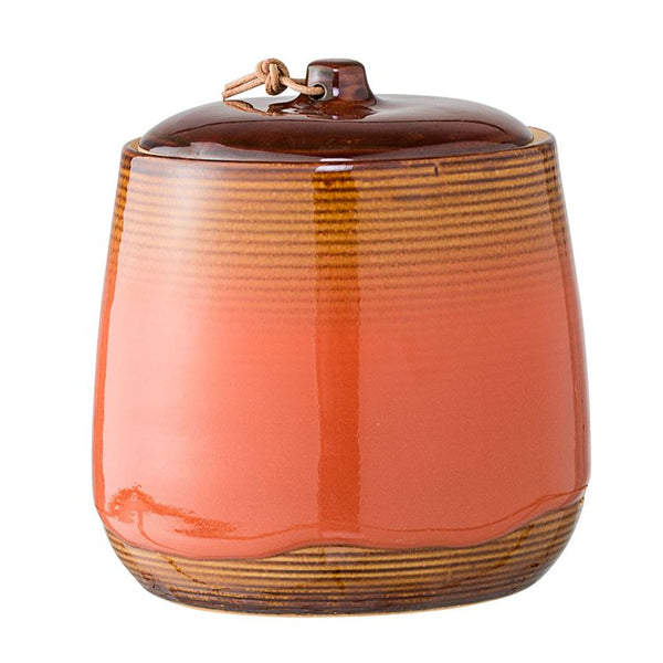 "Lidded Stoneware Jar - Russet and Salmon Glaze 5.5""H"