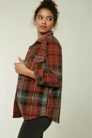 O'Neill Zuma Plaid Superfleece in Henna
