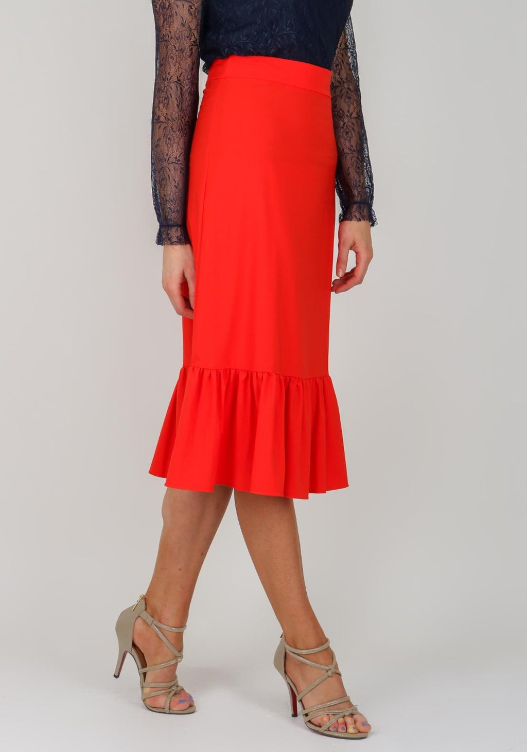 Traffic People Wiggle Skirt in Red