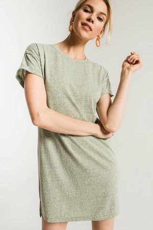 Z Supply Triblend T-Shirt Dress in Oil Green