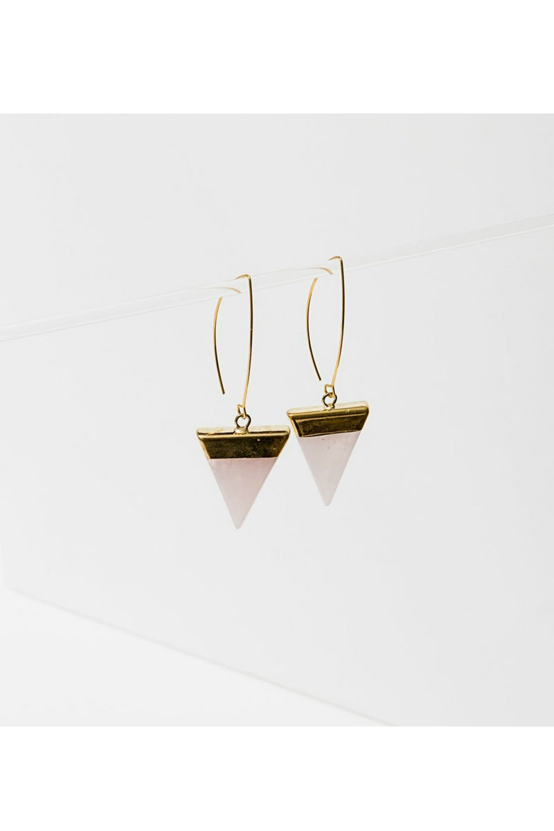 Larissa Loden Triune Earrings - Rose Quartz