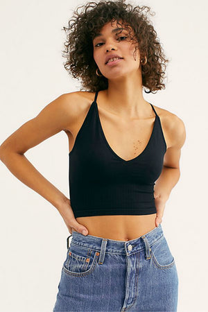 Free People Ribbed V-Neck Brami in Black