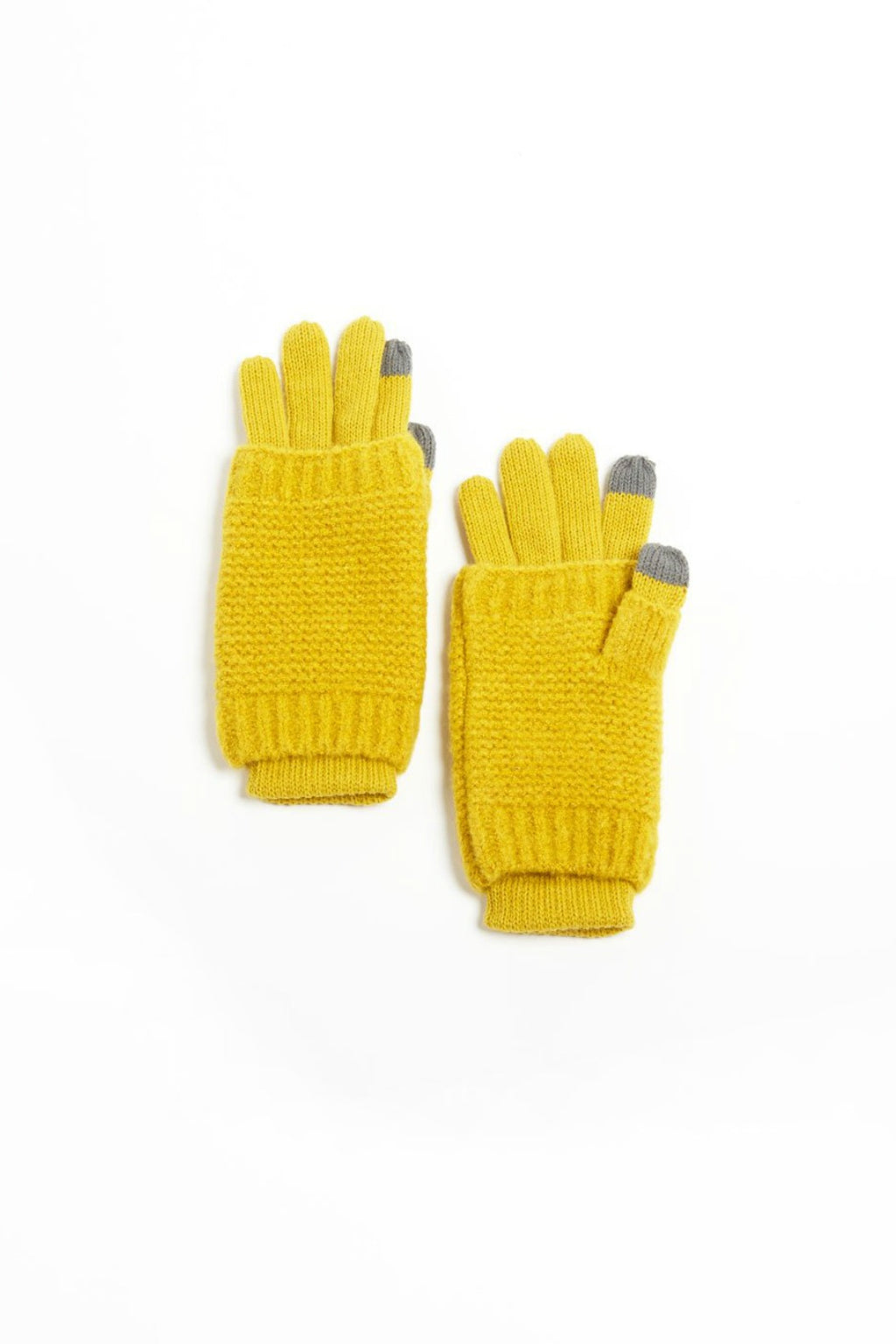 Look Striped Knit Fingerless Gloves in Yellow