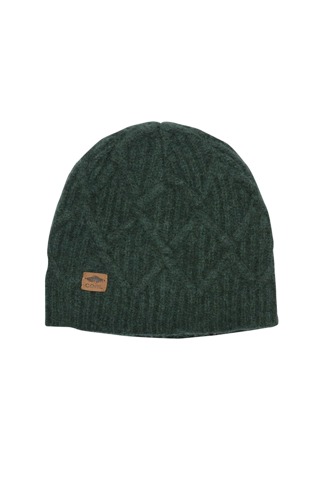 Coal Yukon Cable Knit Beanie - Heather Forest Green