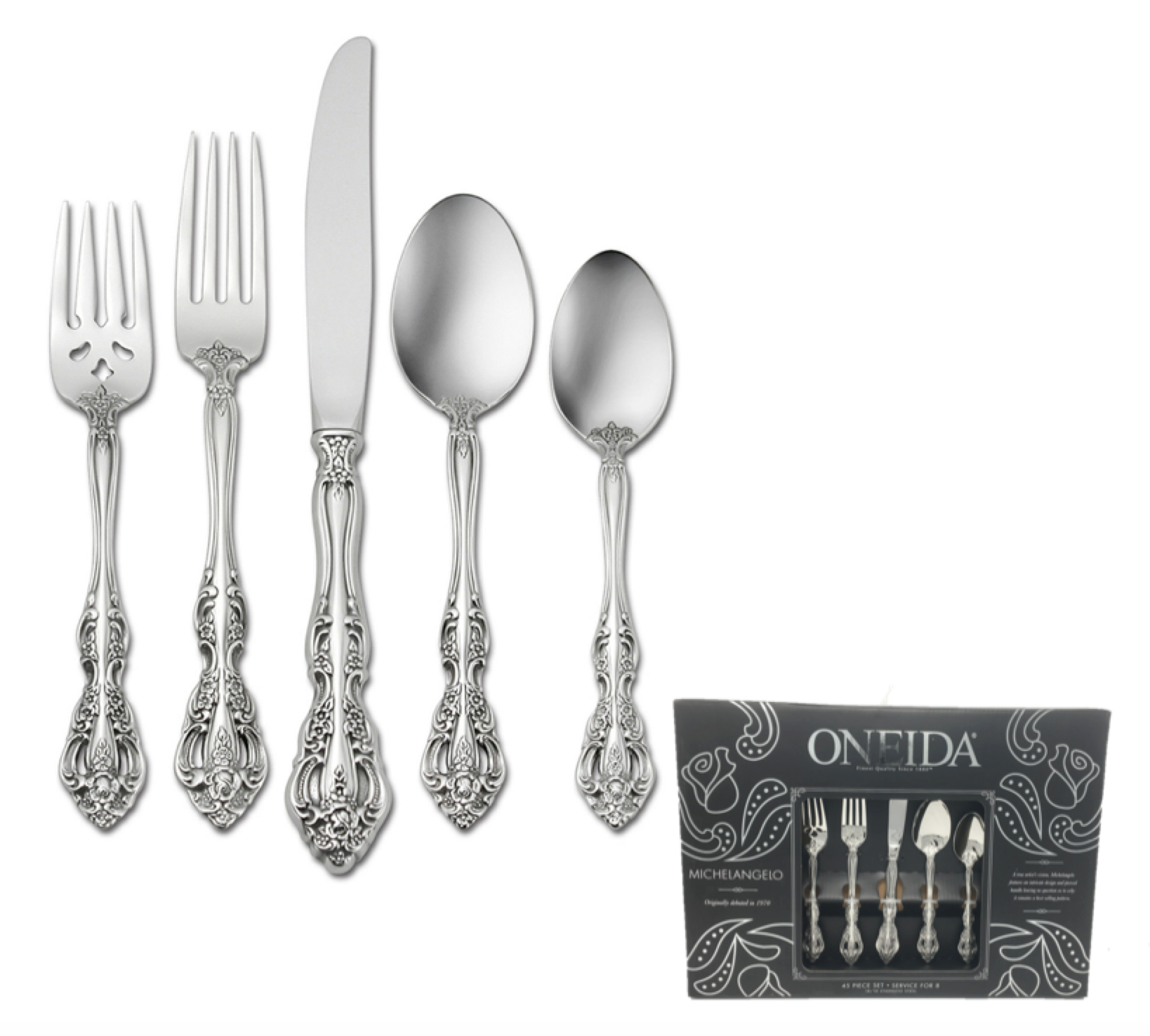 Oneida 45 Piece 18 10 Stainless Flatware Set Service For