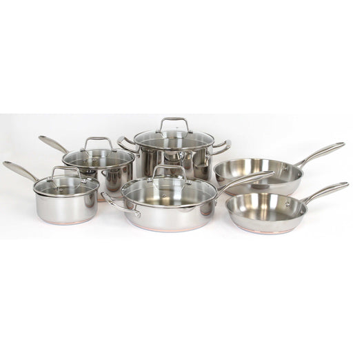 Oneida 10 Piece Stainless Steel Induction Ready Copper Base Cookware Set | Extra 30% Off Code FF30 | Finest Flatware