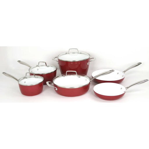 Oneida 10 Piece Forged Aluminum Non-stick Ceramic Red Cookware Set | Extra 30% Off Code FF30 | Finest Flatware