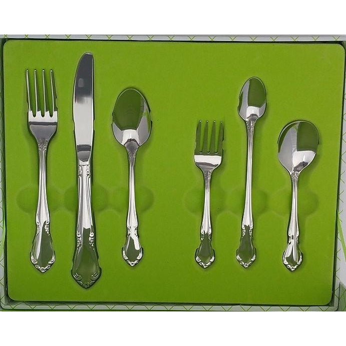 Oneida Chateau Child & Baby Flatware 6 Piece Progress Set - Finest Flatware - Extra 30% Off Code FF30